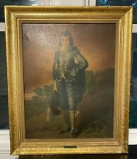Antique Large Oil Painting BLUE BOY Reproduction On Board Artist GAINSBOROUGH