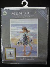 Beach Companions Cross Stitch Kit Heritage Girl Dog 7.5x5.25 DMC LSBC624