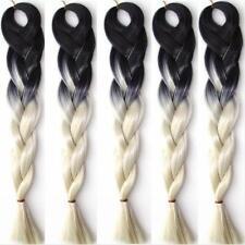 5pcs 500g Jumbo Braiding Hair 24'' Kanekalon Ombre Black Blond Afro Box Braids