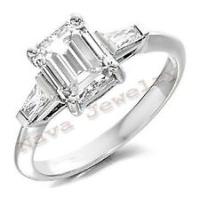 1.11 Ct EMERALD CUT 3-STONE DIAMOND ENGAGEMENT RING NEW