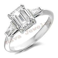 1.11 Ct EMERALD CUT 3-STONE DIAMOND ENGAGEMENT RING NEW