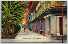 Pirate's Alley Old Orleans Alley in New Orleans, Louisiana Linen Postcard
