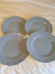 """Mid Century Grindley Petal Ware Blue Lupin 10"""" Dinner Plates Lot X4"""
