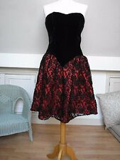 Black Velvet Black/Red floral lace elegant bustier dress evening dress S UK10