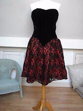 Black Velvet Black/Red Floral Lace Elegant bustier dress evening dress S uk10