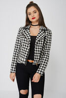 LADIES WOMENS SIDE ZIP FASTENING POINTED COLLAR DOGTOOTH JACKET -  S M L XL