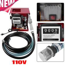 110v Electric Fuel Pump Diesel Oil Transfer Pump Withmeter 13ft Hose Amp Nozzle