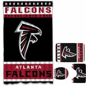 Atlanta Falcons Non-Slip Bathroom Rugs 4PCS Shower Curtain Toilet Lid Cover Gift