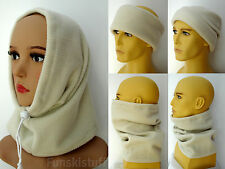 ladies mens RIBBED CREAM SNOOD fleece neck warmer scarf hat ski beanie balaclava