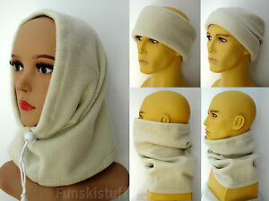 ladies mens RIBBED CREAM SNOOD fleece neck warmer scarf hat ski beanie balaclava