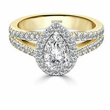 2.00 Ct Pear Cut Diamond Solitaire Engagement Ring 14K Real Yellow Gold Size O