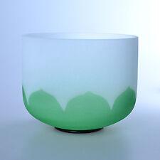 "8"" F Heart Lotus Green Wholesale Chakra Crystal Quartz Singing Bowl Heal Stone"