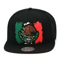 """Mitchell & Ness """"Mexico"""" Snapback Hat Cap Black/Paint Mexican Flag"""