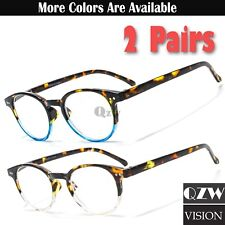 2 Pairs Womens Men Round Horn Oval Reading Glasses Spring Hinge Power Reader 1-3