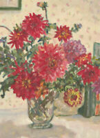 Ann Matthews - 20th Century Oil, Vibrant Study of Red Flowers