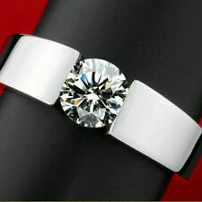 fashion ring, silver plated, white sapphire, size 9