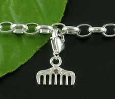 SILVER COMB WITH PINK RHINESTONE CLIP ON CHARM FOR BRACELETS - NEW