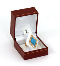New Diamond Turquoise & White Onyx 18k Yellow Gold Diamond Shape Ring Size 6.25