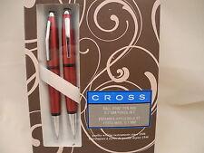CROSS ELEGANT TWIST PEN AND PENCIL SET WARREN  SATIN RED  NEW REDUCED