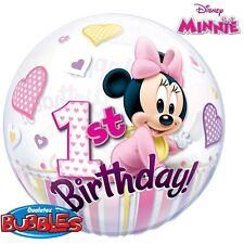 "Giant 22"" Bubble Minnie Mouse 1st Birthday Qualatex Original Licensed Birthday"