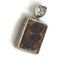 Copper Amethyst Rectangle Gemstone 925 silver overlay Handmade Vintage Pendant