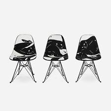 Cleon Peterson x Modernica Case Study Upholstered Fiberglass Chair SET OF 3