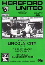 Hereford United v Lincoln City programme, Division 4, November 1986