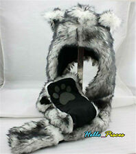 Wolf Hood Faux Fur Hat w/ Scarfs Mittens Ears & Paws Spirit 3 in 1 Warm Hat USA