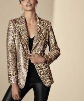 NWT BEREK Sequin Leopard 2 Button CLASSY Blazer Jacket Size S ❤️ Retail $260