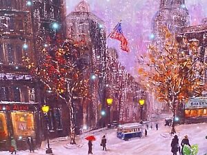 Oak Street Wholesale LED LIGHTED WINTER CITY SCENE Picture Wall Decor OSW188178