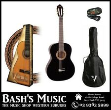 Valencia 3/4 Beginners Nylon Guitar Pack + Bag + Tuner - Black