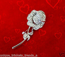 VALENTINES DAY RHINESTONE ROSE FLOWER BROOCH PIN GIFT FOR HER WOMEN MOM WIFE