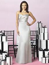 After Six Asymmetrical Cross Satin Oyster Grey Sz 6 Bridesmaids Prom Dress 6628