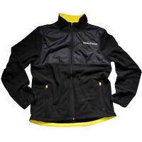 Men Black Fleece Jacket Full Zip Front Pockets Guinness LogoMicrofleece