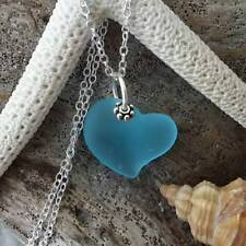 "Handmade in Hawaii, ""Heart of the Sea"" Blue sea glass necklace,925 sterling silv"