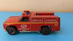 Hot Wheels redline EMERGENCY UNIT Truck Fire truck red NO RESERVE!