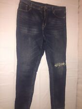 MENS UNBRANDED JEANS DESTROYED LOOK DENIM BLUE SIZE 36