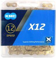 KMC X12 Gold Ti-N 12-Speed Road / MTB Bike Chain 126L fits SRAM GX NX Eagle 12sp