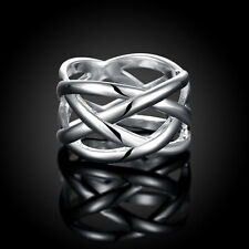 HOT 925 sterling Solid silver fishnet rings Size9 #P173