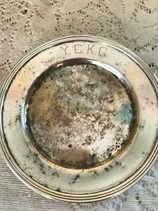 Vintage NATIONAL SILVER ON COPPER 1025 6 Inch Round Plate Marked Y.C.K.C.