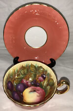 Stunning VTG Aynsley Orchard Fruit Teacup Saucer Set - RARE colorway Salmon Pink