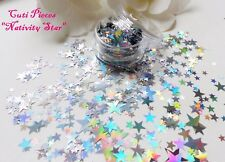 "Nail Art Chunky ""Nativity Star"" Xmas Silver Holographic Spangle Glitter Pot Pack"