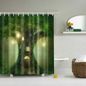Shower Curtain Green Tree Cottage Fairyland Design Bathroom Waterproof Fabric