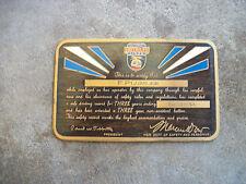 vintage 1934 Greyhound bus driver 3 year safe driving brass award card pin badge