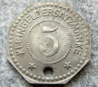 GERMAN NOTGELD SCHLESWIG - HOLSTEIN FLENSBURG 1917 5 PFENNIG, IRON