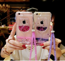 Wine Glass Bling Liquid Glitter Quicksand Dynamic Cell Phones Case Cover Lanyard