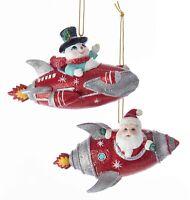 Kurt Adler Santa and Snowman Rocket Ornaments Mid Century Style Set of 2
