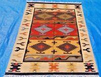Afghan Tribal Kilim Hand woven Carpet Pure Wool Kelim Area Rug 4'x6'