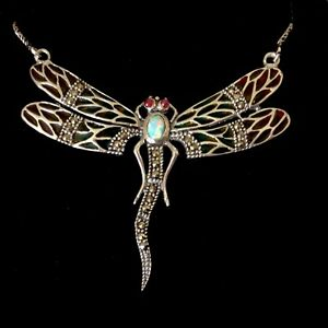 Sterling Silver Plique a Jour Opal Ruby Big Dragonfly Insect Big Necklace