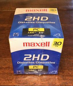 "MAXELL Floppy Diskettes 3.5"" 1.44MB MF 2HD PC Formatted 30 Pack New Sealed"